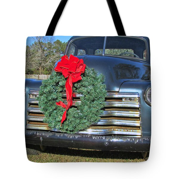 Chevy Christmas Tote Bag by Victor Montgomery