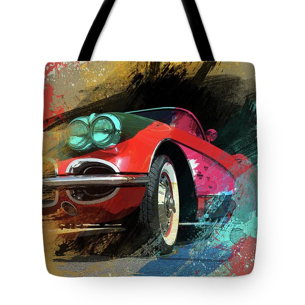 Chevy Corvette Digital Art Tote Bag