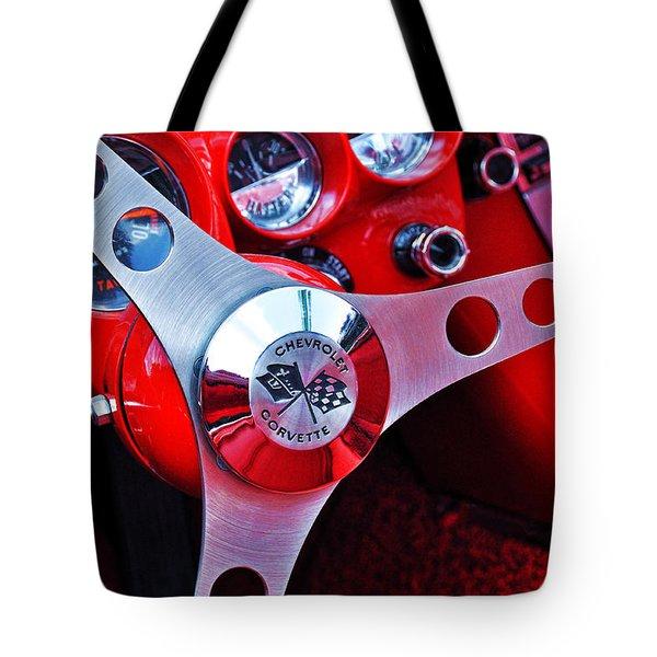 Chevy Corvettte Steering Wheel Tote Bag