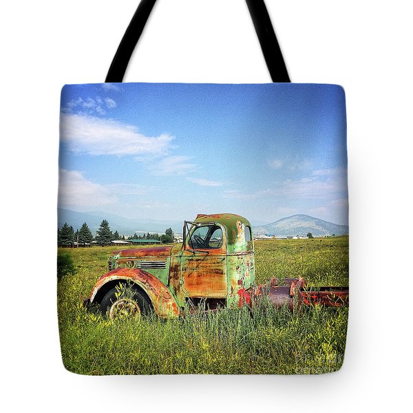 Chevy In A Field Tote Bag by Terry Rowe
