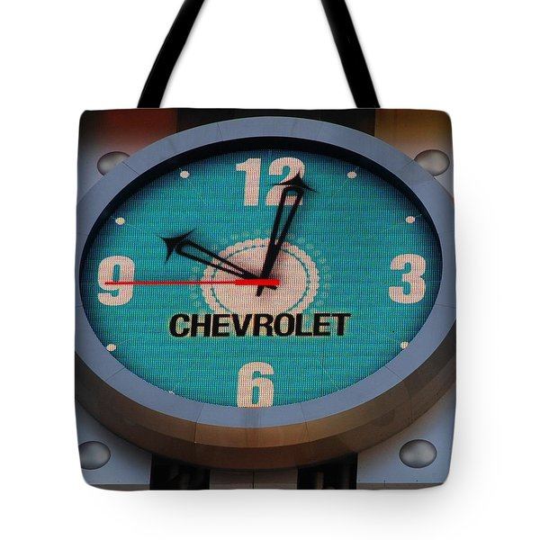 Chevy Neon Clock Tote Bag by Rob Hans