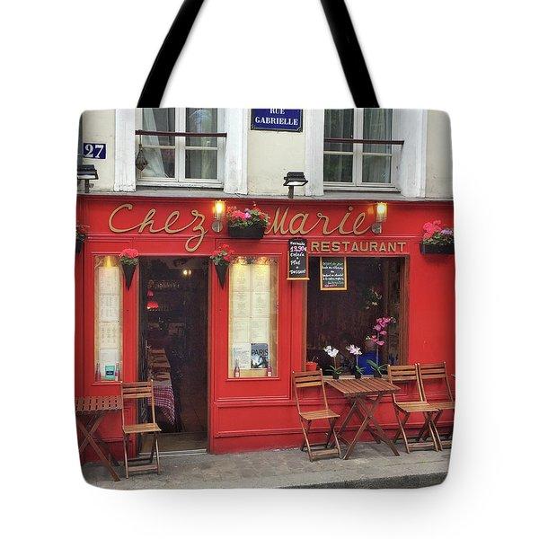 Chez Marie Restaurant, Montmartre, Paris Tote Bag