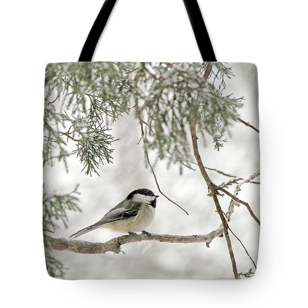 Chicadee In A Snow Storm  Tote Bag