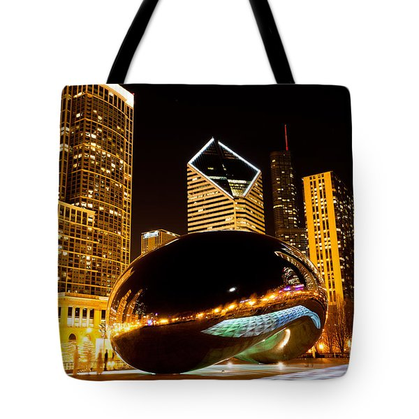 Chicago Bean Cloud Gate At Night Tote Bag by Paul Velgos