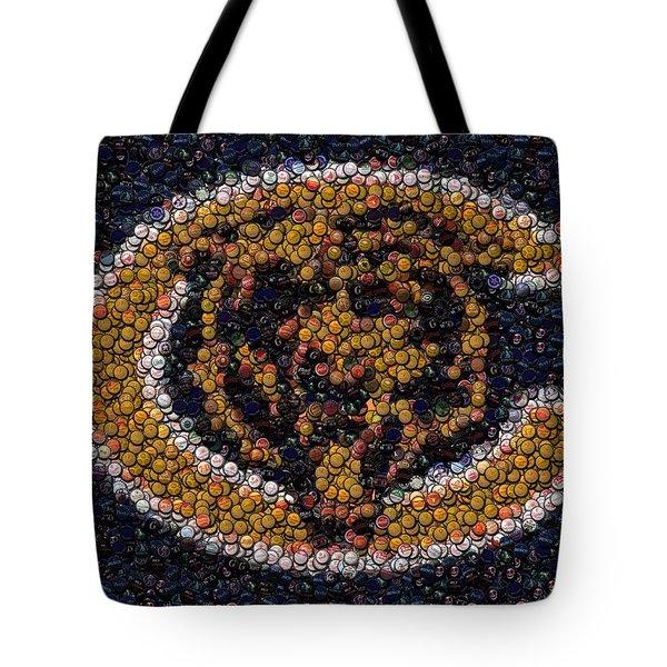 Chicago Bears Bottle Cap Mosaic Tote Bag by Paul Van Scott