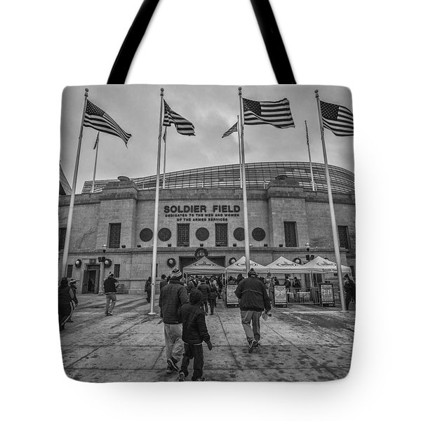 Chicago Bears Soldier Field Black White 7861 Tote Bag