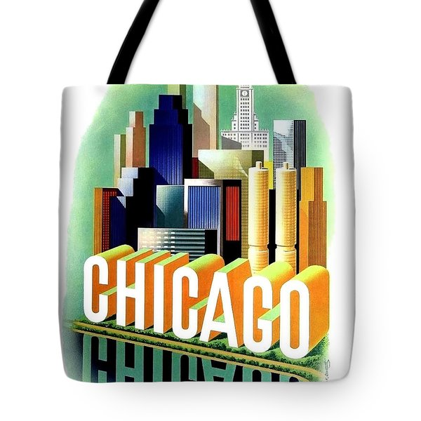 Chicago, Big City, Skyscrapers, Travel Poster Tote Bag