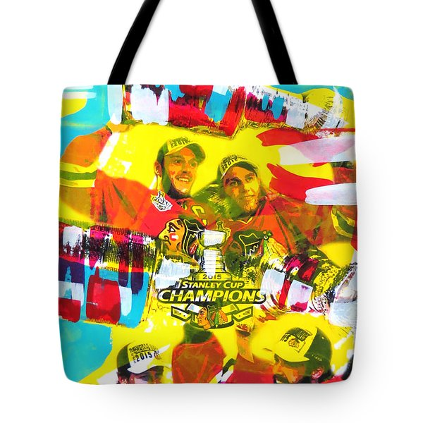 Chicago Blackhawks 2015 Champions Tote Bag by Elliott From
