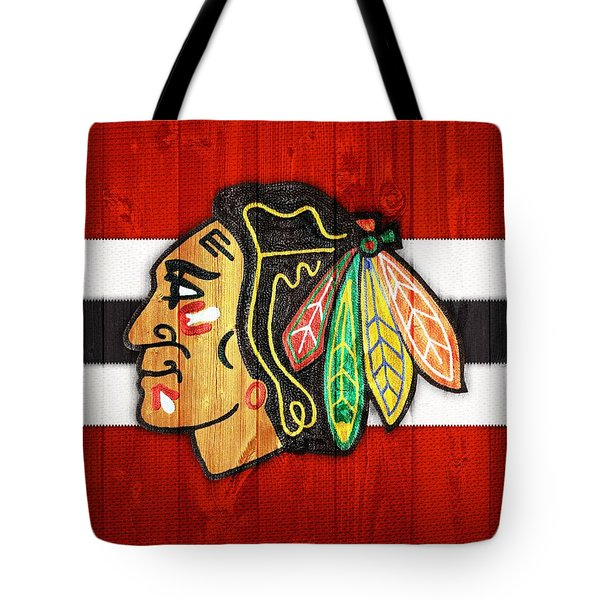 Chicago Blackhawks Barn Door Tote Bag by Dan Sproul