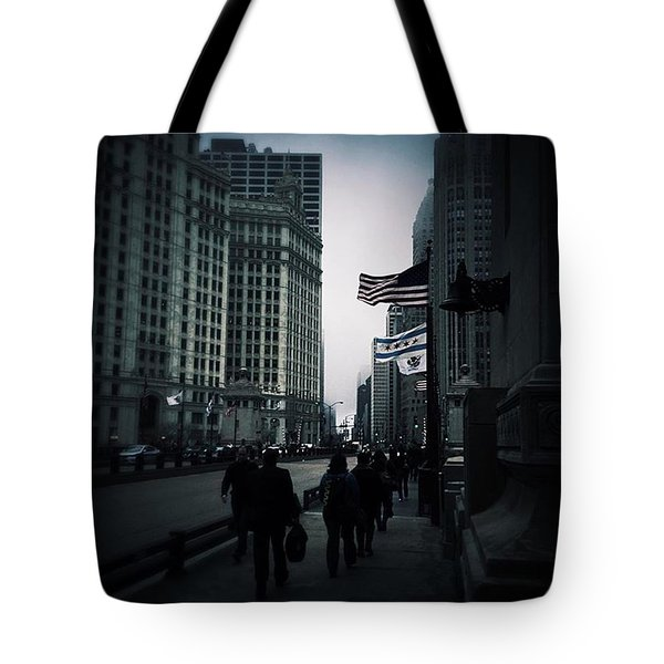 Chicago City Fog Tote Bag by Frank J Casella