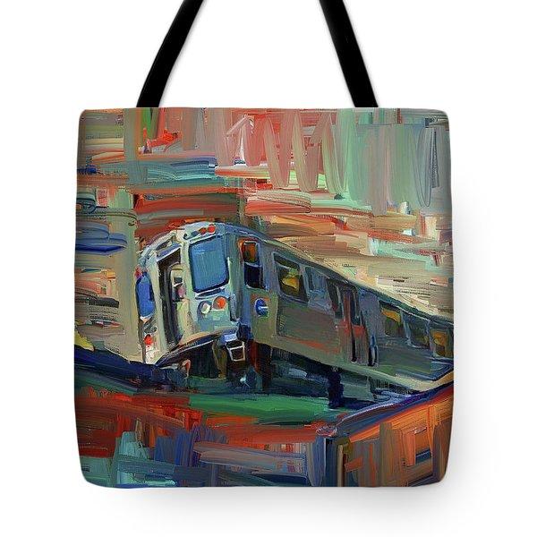 Chicago City Train Tote Bag