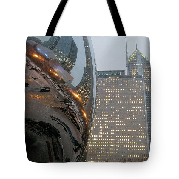 Tote Bag featuring the photograph Chicago Cloud Gate. Reflections by Ausra Huntington nee Paulauskaite