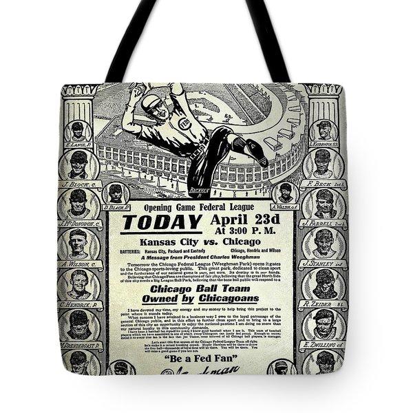Chicago Cub Poster Tote Bag by Jon Neidert