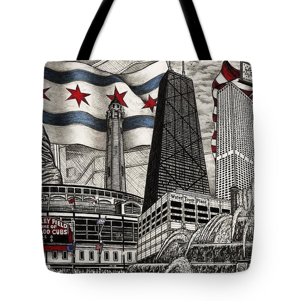 Chicago Cubs, Ernie Banks, Wrigley Field Tote Bag