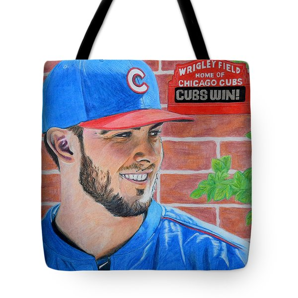 Chicago Cubs Kris Bryant Portrait Tote Bag