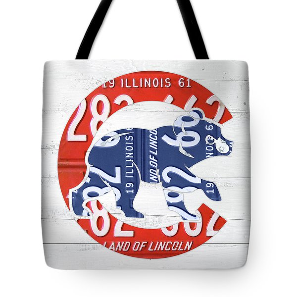 Chicago Cubs Retro Vintage Baseball Logo License Plate Art Tote Bag by Design Turnpike