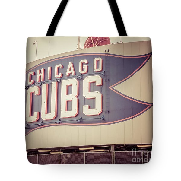 Chicago Cubs Sign Vintage Picture Tote Bag by Paul Velgos