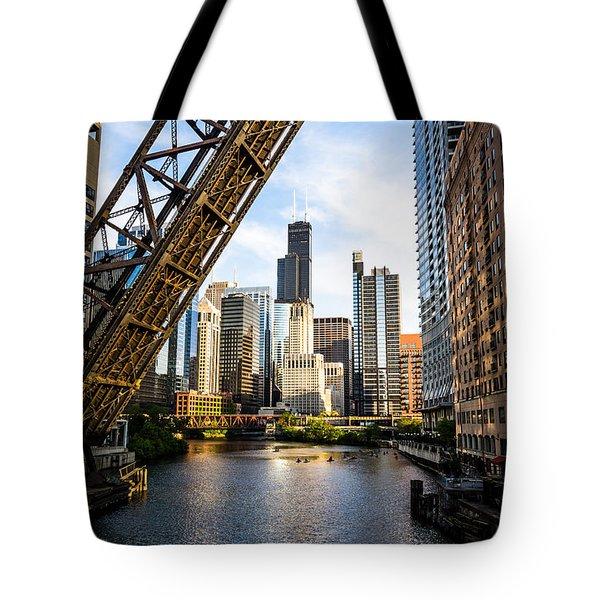 Chicago Downtown And Kinzie Street Railroad Bridge Tote Bag