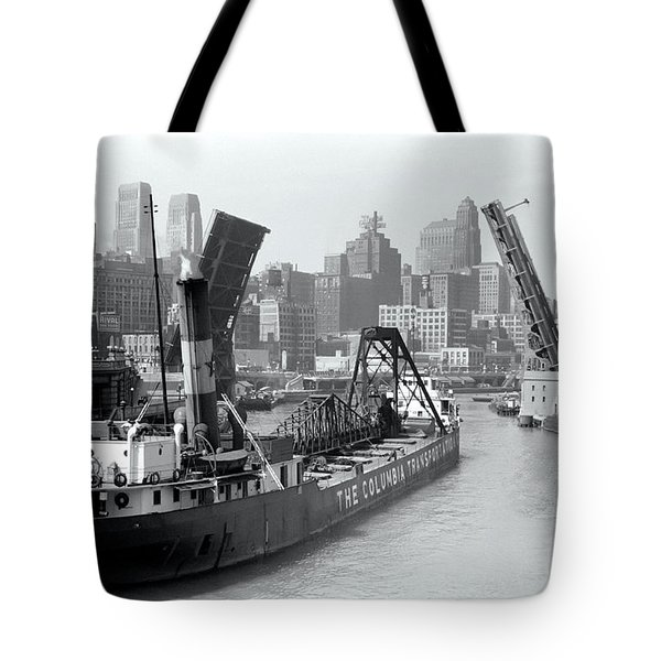 Tote Bag featuring the photograph Chicago Draw Bridge 1941 by Daniel Hagerman