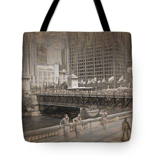 Chicago Dusable Bridge Street Scene Tote Bag