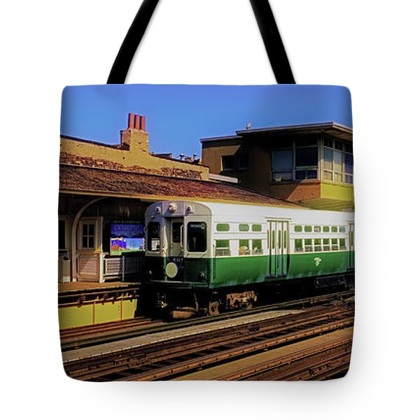 Tote Bag featuring the photograph Chicago El Vintage  Cars At Armitage  by Tom Jelen