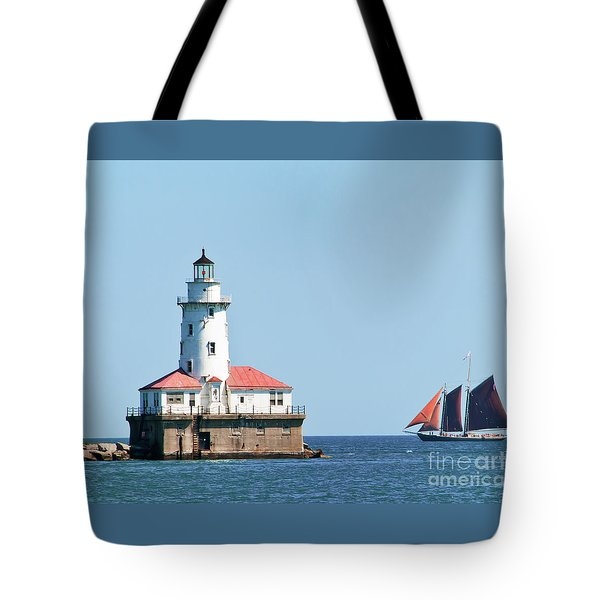 Chicago Harbor Lighthouse And A Tall Ship Tote Bag