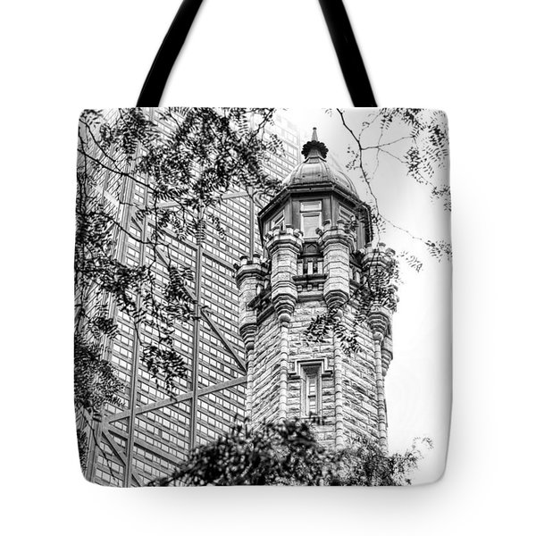 Tote Bag featuring the photograph Chicago Historic Water Tower Fog Black And White by Christopher Arndt