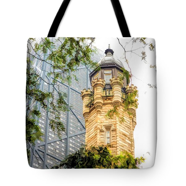 Chicago Historic Water Tower Fog Tote Bag