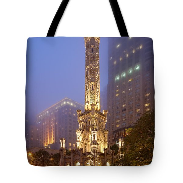 Chicago Historic Water Tower On Michigan Avenue Foggy Twilight - Chicago Illinois Tote Bag