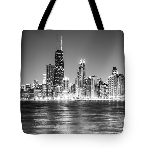 Chicago Lakefront Skyline Black And White Photo Tote Bag by Paul Velgos