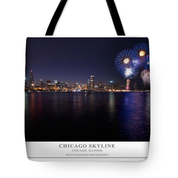 Chicago Lakefront Skyline Poster Tote Bag by Steve Gadomski