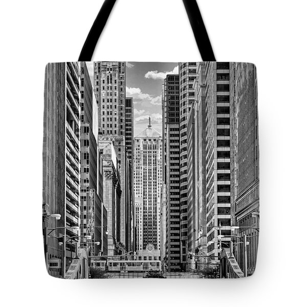 Chicago Lasalle Street Black And White Tote Bag