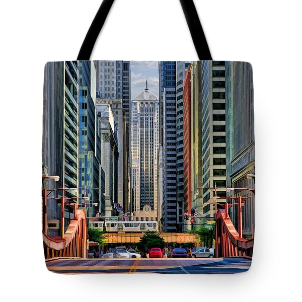 Tote Bag featuring the painting Chicago Lasalle Street by Christopher Arndt