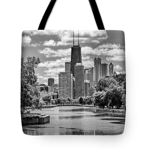 Chicago Lincoln Park Lagoon Black And White Tote Bag