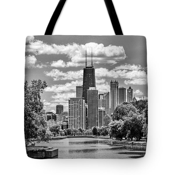 Tote Bag featuring the painting Chicago Lincoln Park Lagoon Black And White by Christopher Arndt