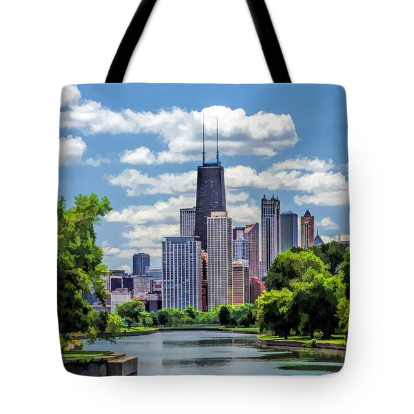 Tote Bag featuring the painting Chicago Lincoln Park Lagoon by Christopher Arndt