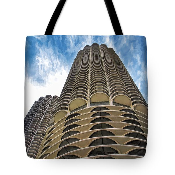 Tote Bag featuring the painting Chicago Marina Towers by Christopher Arndt