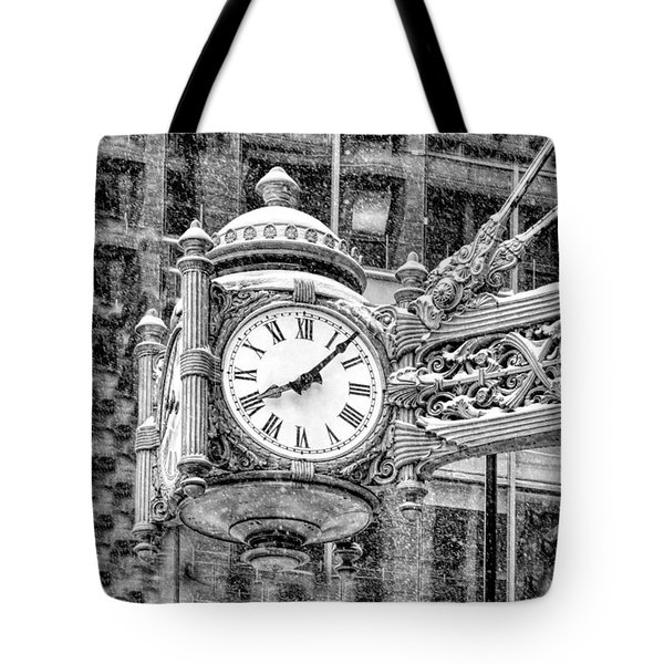 Tote Bag featuring the photograph Chicago Marshall Field State Street Clock Black And White by Christopher Arndt