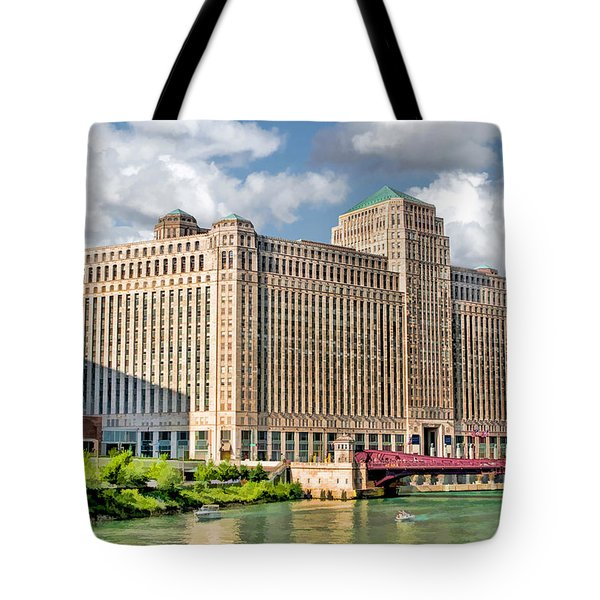 Tote Bag featuring the painting Chicago Merchandise Mart by Christopher Arndt