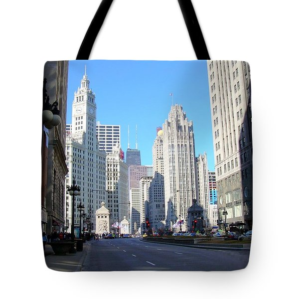 Chicago Miracle Mile Tote Bag by Anita Burgermeister