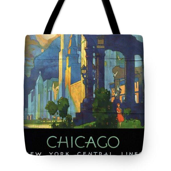 Chicago - New York Central Lines - Vintage Poster Folded Tote Bag