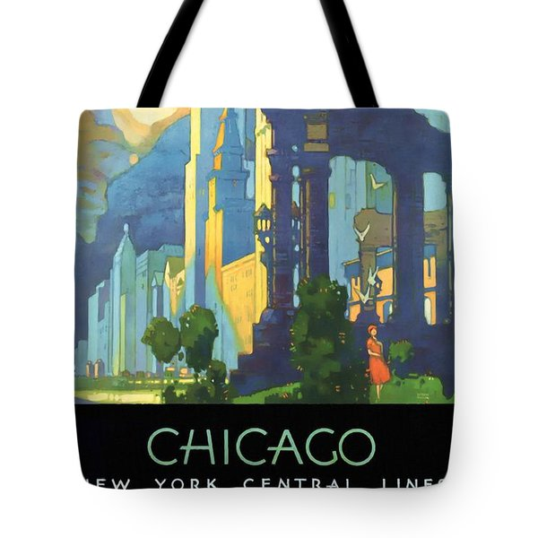 Chicago - New York Central Lines - Vintage Poster Restored Tote Bag