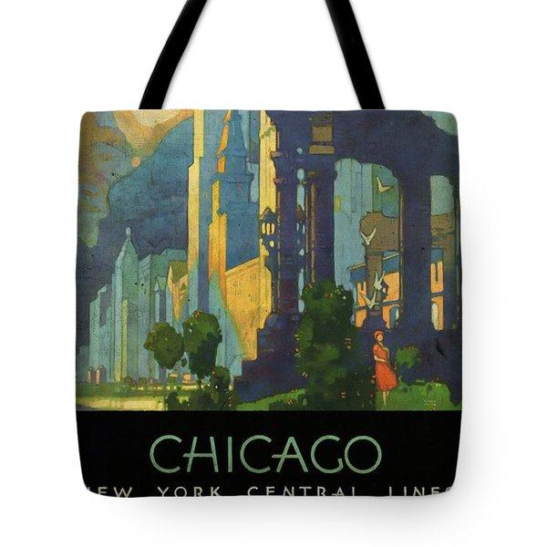 Chicago - New York Central Lines - Vintage Poster Vintagelized Tote Bag
