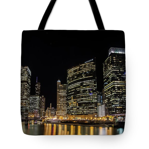 Chicago Night Skyline From Wolf Point Tote Bag