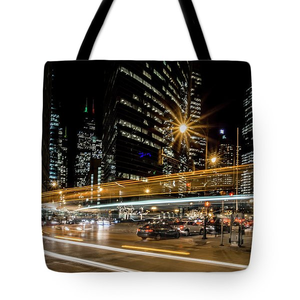 Chicago Nighttime Time Exposure Tote Bag