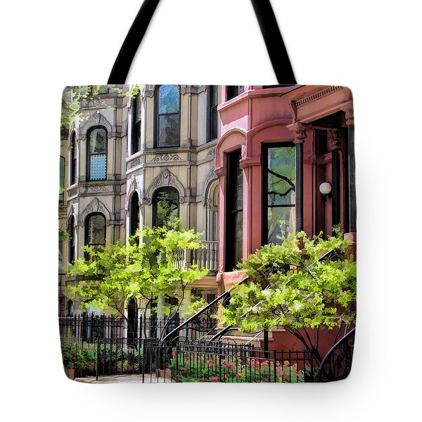 Tote Bag featuring the painting Chicago North Shore Greystones by Christopher Arndt