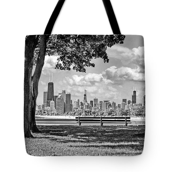 Tote Bag featuring the photograph Chicago North Skyline Park Black And White by Christopher Arndt