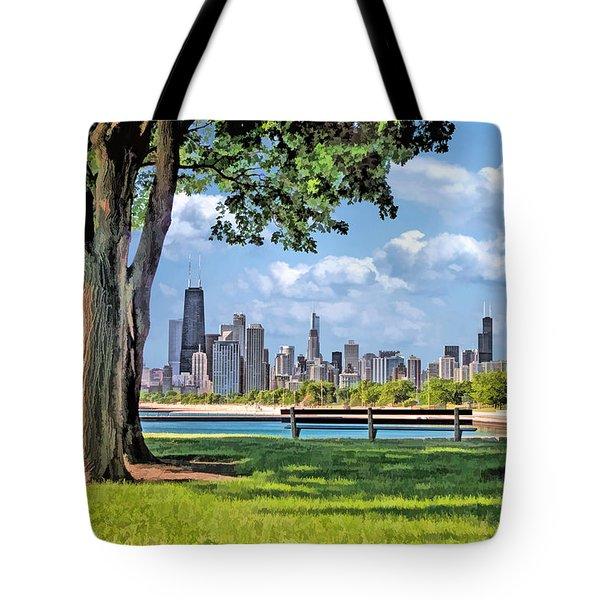 Chicago North Skyline Park Tote Bag