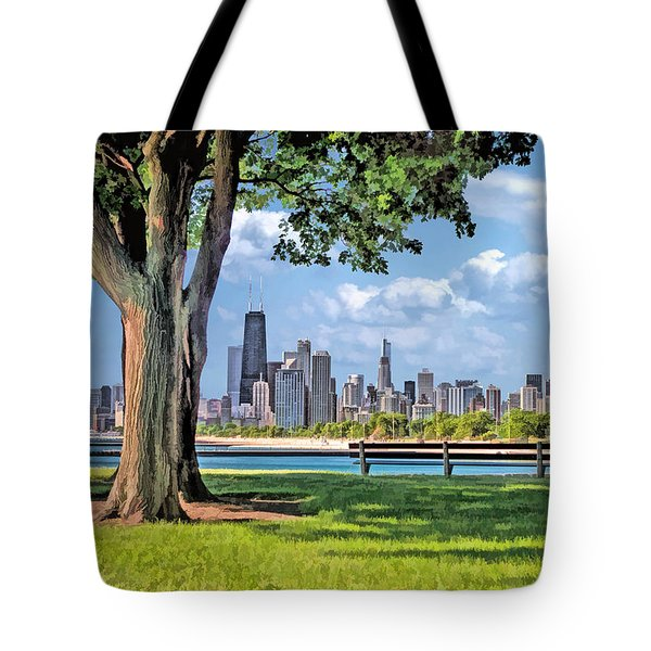 Tote Bag featuring the painting Chicago North Skyline Park by Christopher Arndt