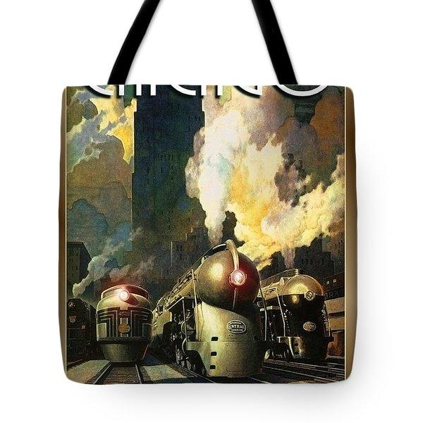 Chicago Railway, Steam Trains Tote Bag